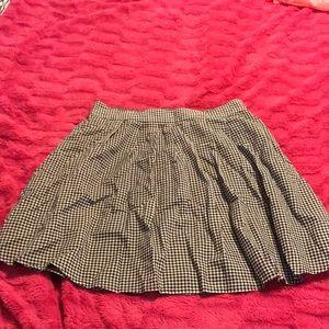 Black & White Plaid Flare Skater Skirt